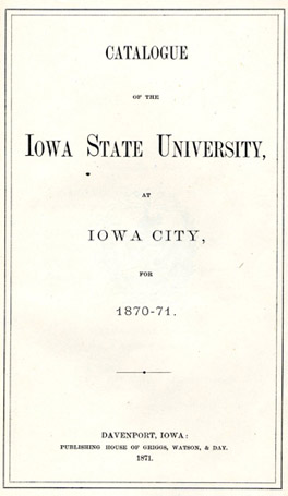 Title page from the 1870 general catalog