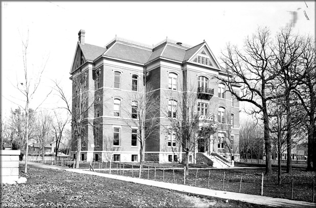 photo: Science Hall (today Calvin Hall) at its original location, just northeast of Old Capitol, about 1903.