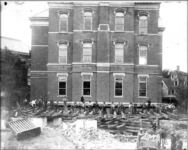 photo: Science Hall during the move, 1905.