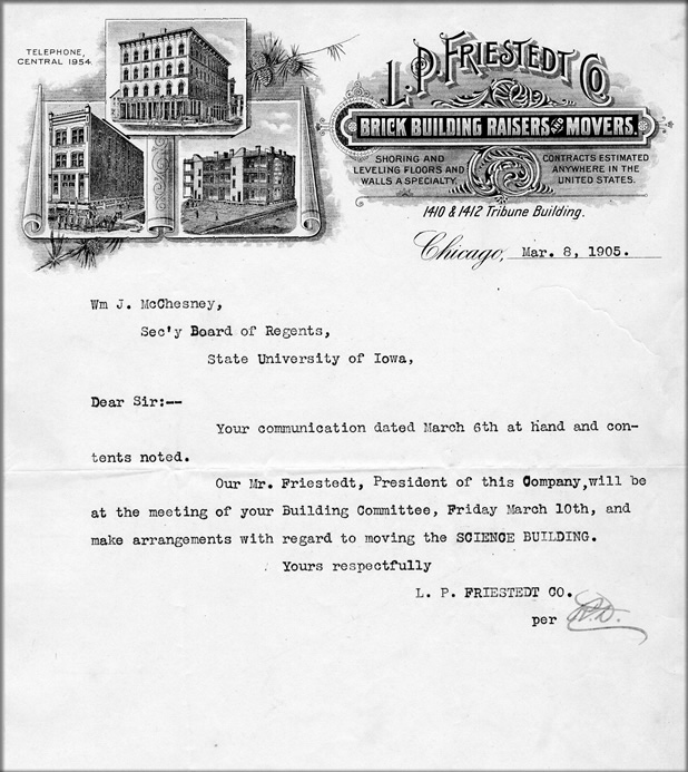 photo: Correspondence from L.P. Friestedt and Co. of Chicago, the low bidder, 1905