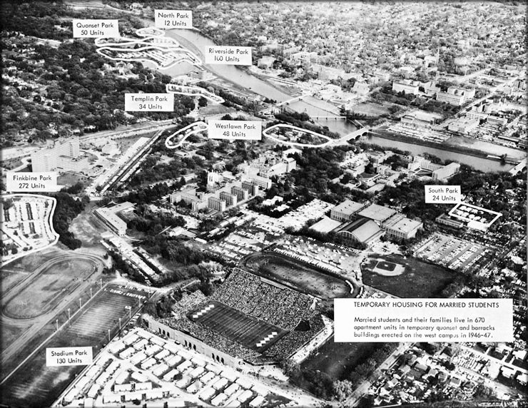 Aerial view of the campus depicts locations of temporary housing units, 1954 from an unidentified University publication