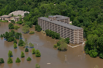 Aerial view of Mayflower Hall during the 2008 flood. File photo by Tom Jorgensen.