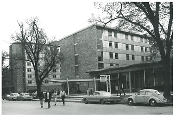 Burge Hall, with Daum Hall to the left, 1960s.