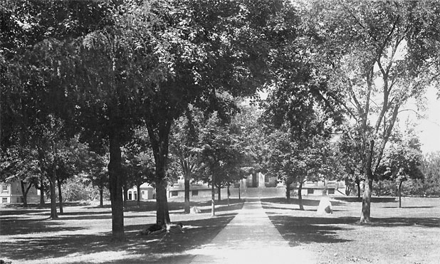 Old Capitol central walk, between 1886 and 1901, facing west.